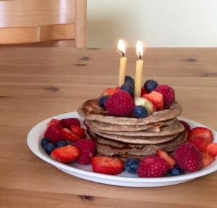 banana buckwheat pancake cake with fresh fruit