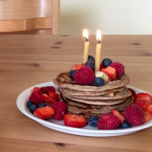 banana buckwheat pancake cake with fresh fruit